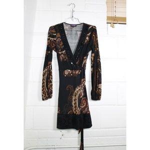 Hale Bob velvet beaded long sleeve wrap dress